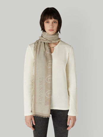 Viscose and modal jacquard scarf