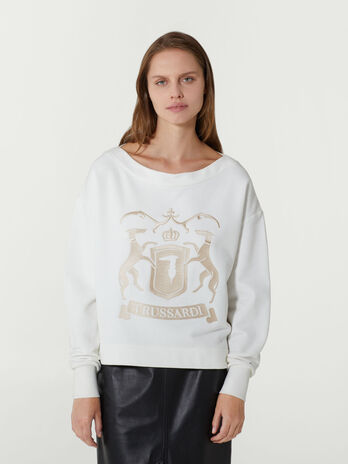 Cropped oversized cotton sweatshirt with embroidery