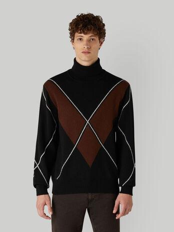 Jersey corte holgado de mezcla de lana con cuello alto