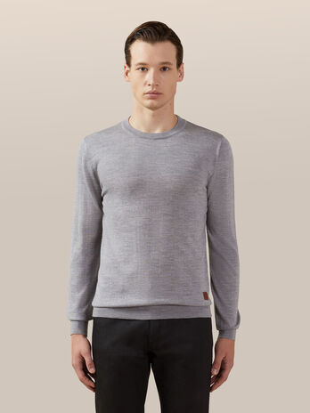 Regular fit wool and silk pullover