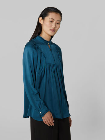 Satin blouse with keyhole detailing