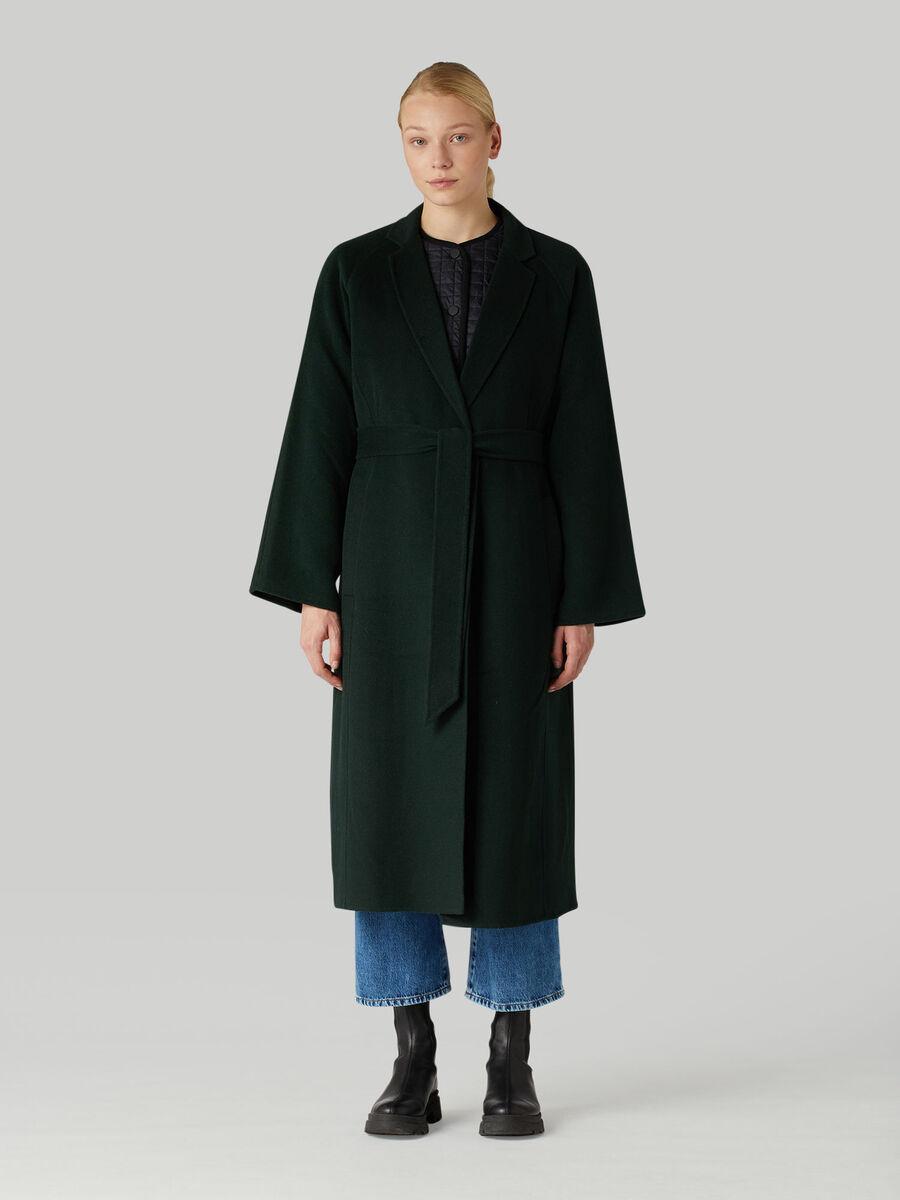 Cappotto in panno di lana con cintura