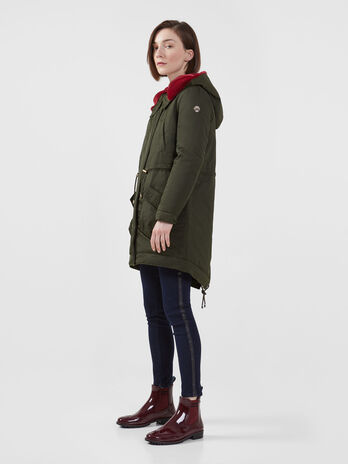 Regular fit cotton blend gabardine parka