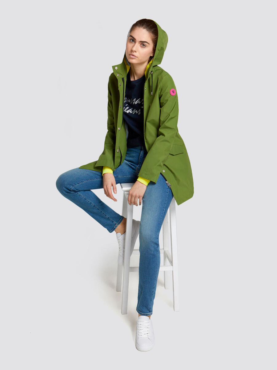 Regular fit technical nylon trench with hood