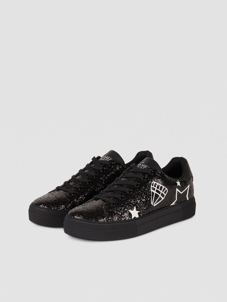 Rhinestone detailed sneakers with graphic prints