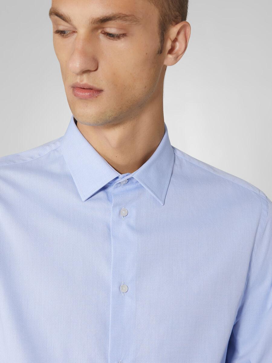 Camicia regular fit in cotone micro jacquard