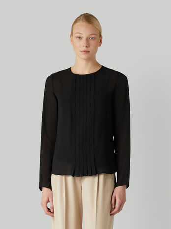 Georgette blouse with stitched pleats