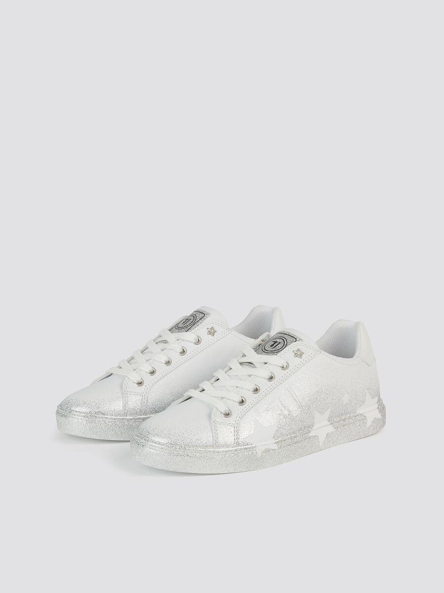 Star sneakers in glittery spray effect faux leather