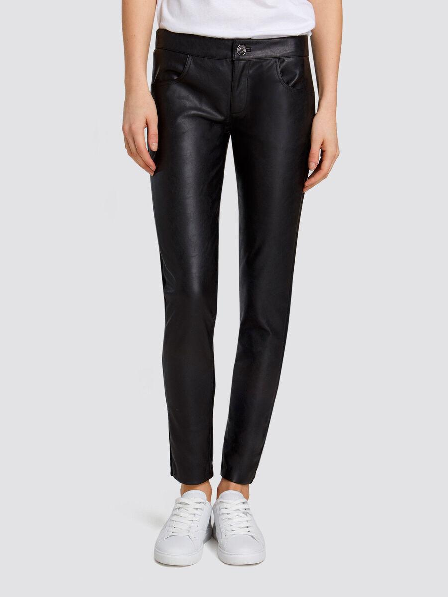 Skinny Hose aus weichem Lederimitat