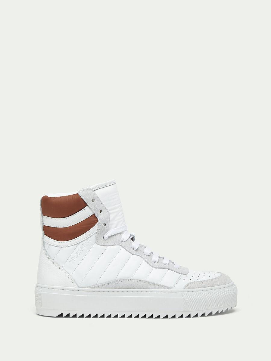 Sneakers in crespo pelle con suede