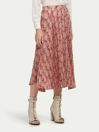 Pleated floral longuette skirt