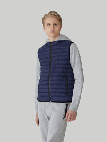 Gilet in nylon light trapuntato con zip