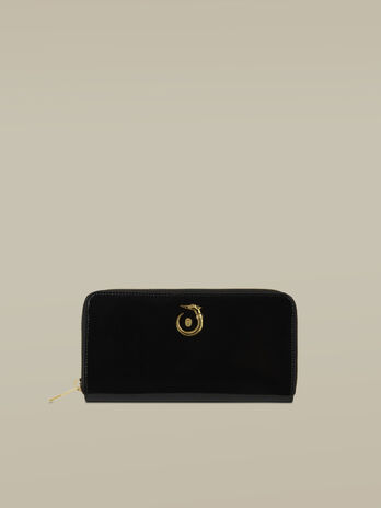 Lovy zip-around purse in shiny leather