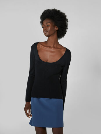 Wool blend pullover with wide neckline