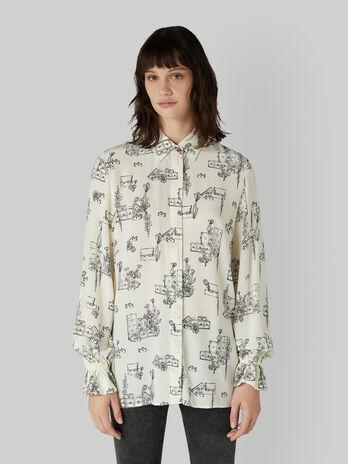 Viscose shirt with travel print