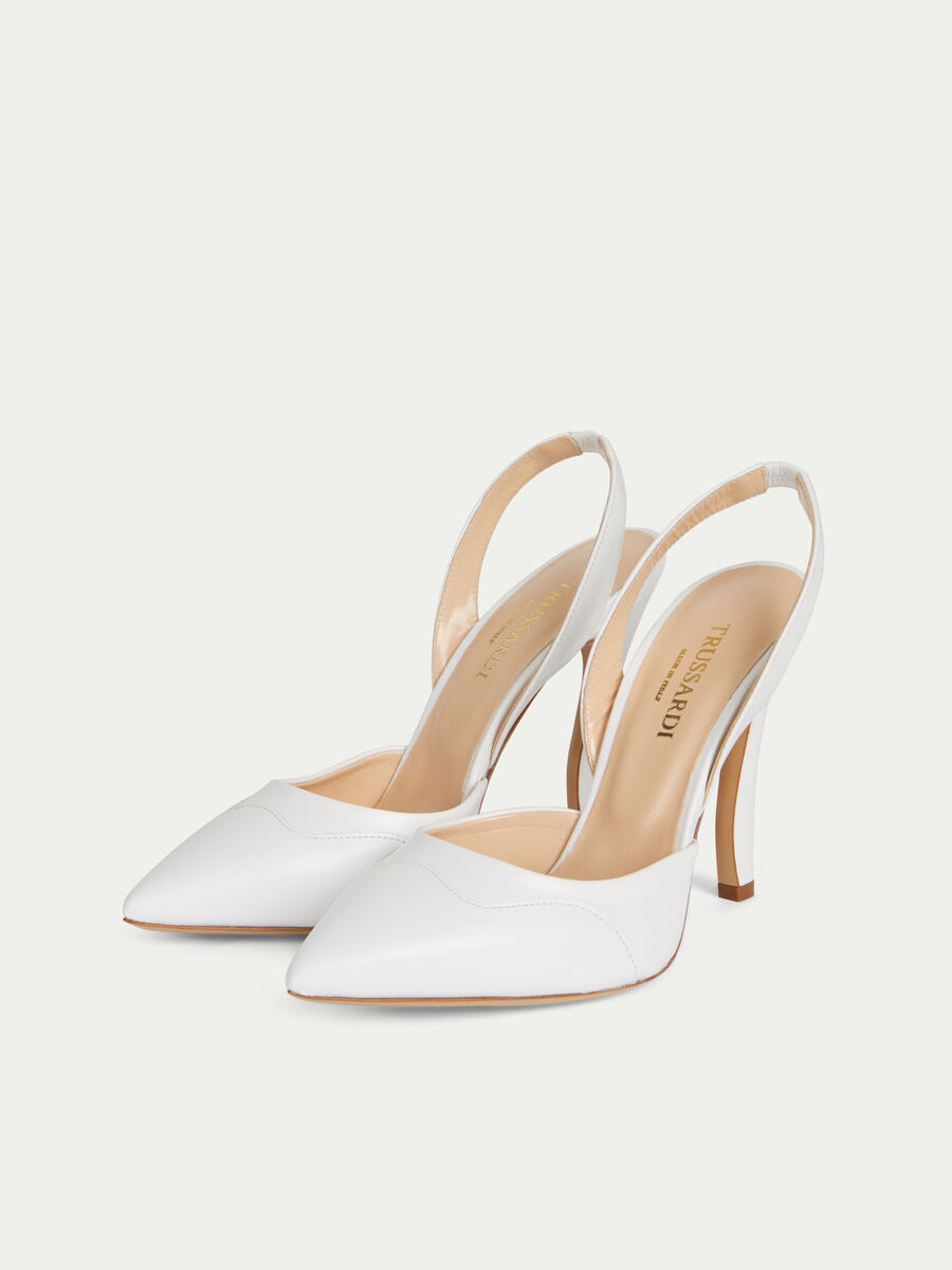 Solid colour leather slingbacks with a high heel