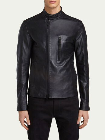 Slim fit leather biker jacket with zip detail