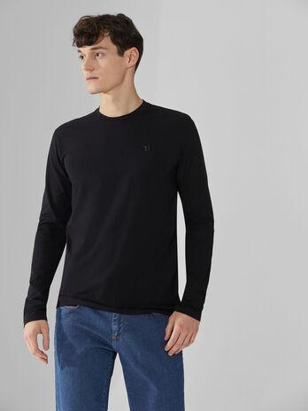 Langarm-Pullover im Slim-Fit aus Baumwolle