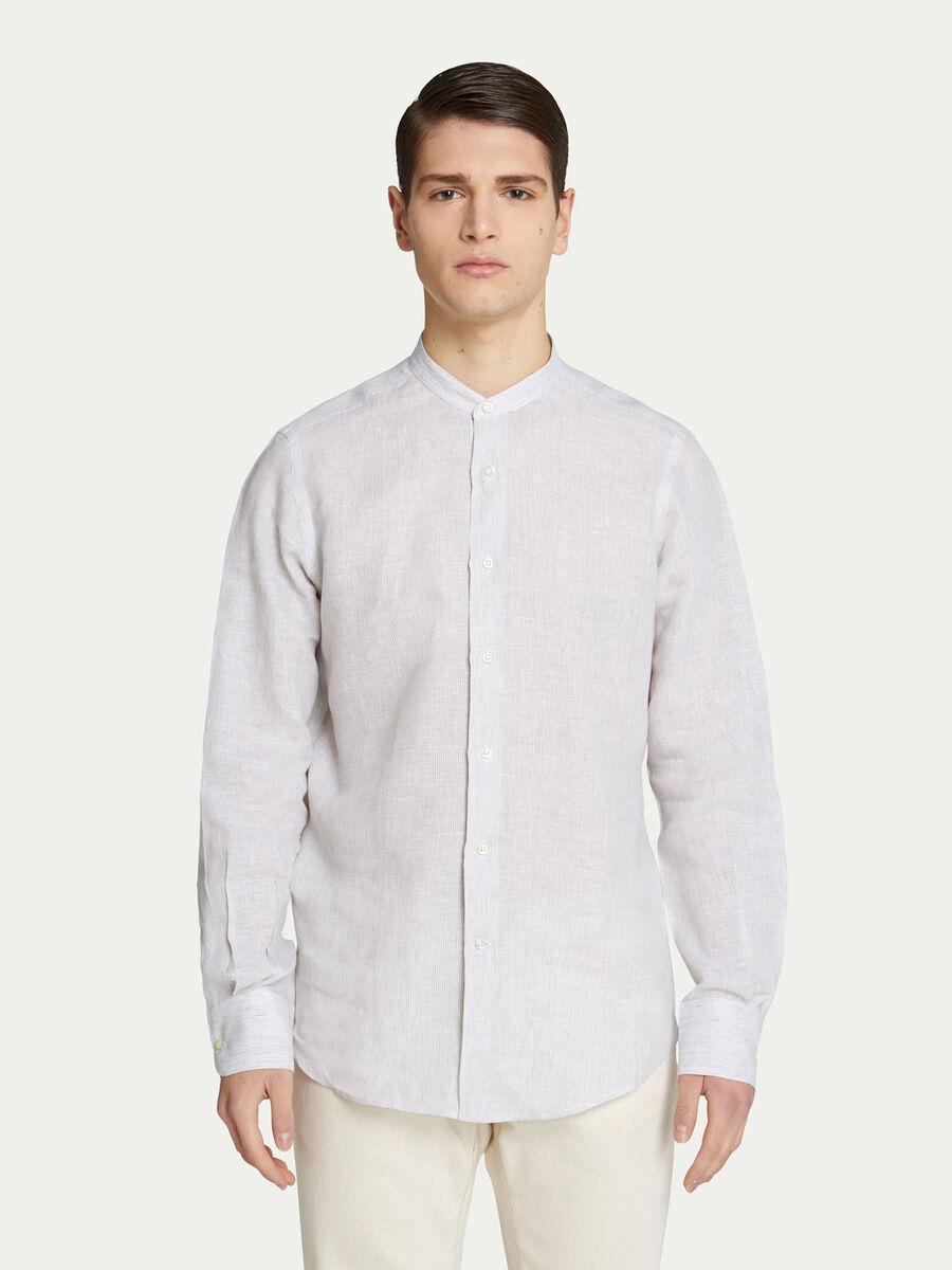 Camicia tinta unita con righe e scollo alla coreana