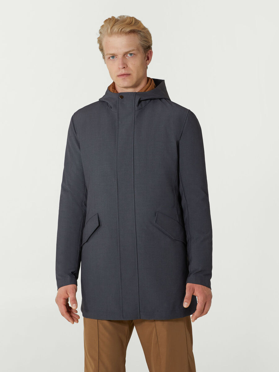 Technical fabric parka with gilet