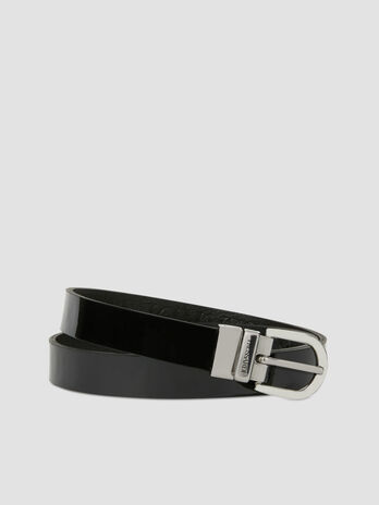 Reversible leather and patent leather belt