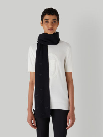 Knit scarf with Levriero embroidery