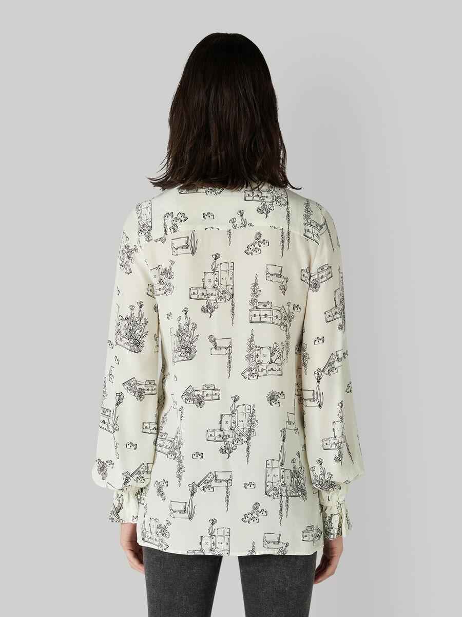 Camicia in viscosa con stampa travel