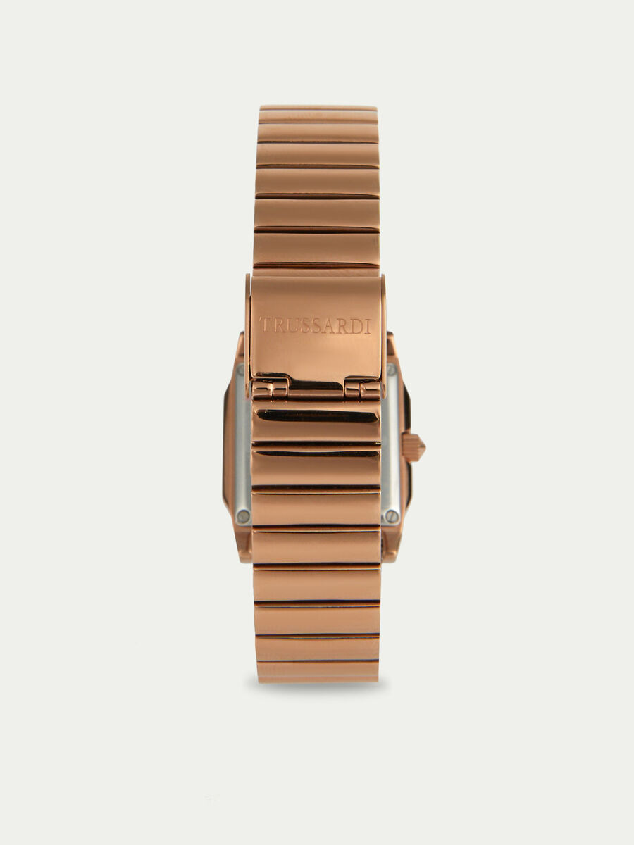 T-Geometric watch with rose gold metal strap