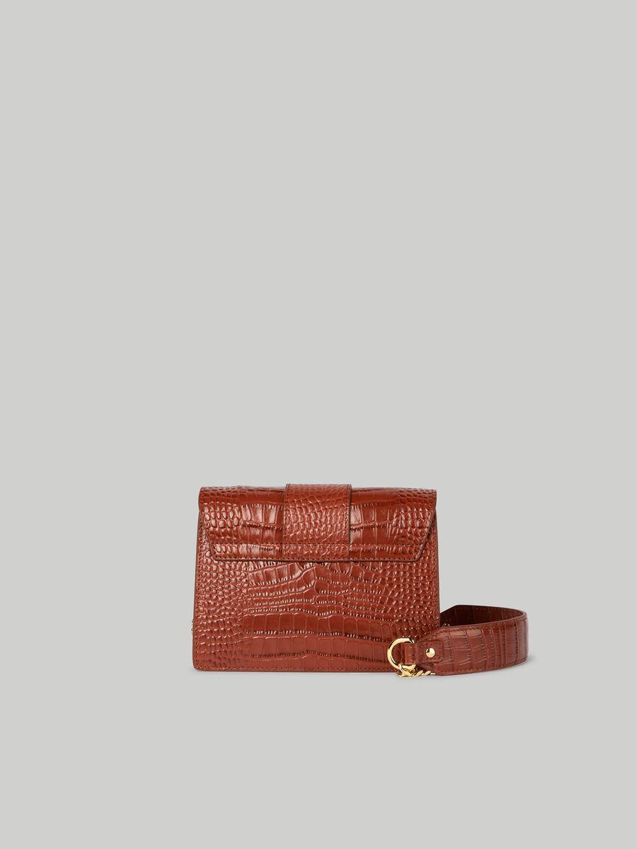 Mini sac Milano en cuir imprime croco