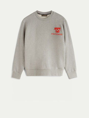 Cotton crew neck sweatshirt with logo print