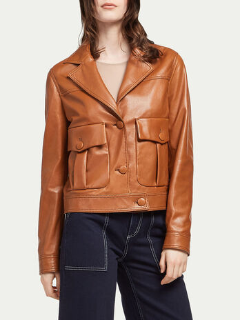 Lambskin jacket with lapels