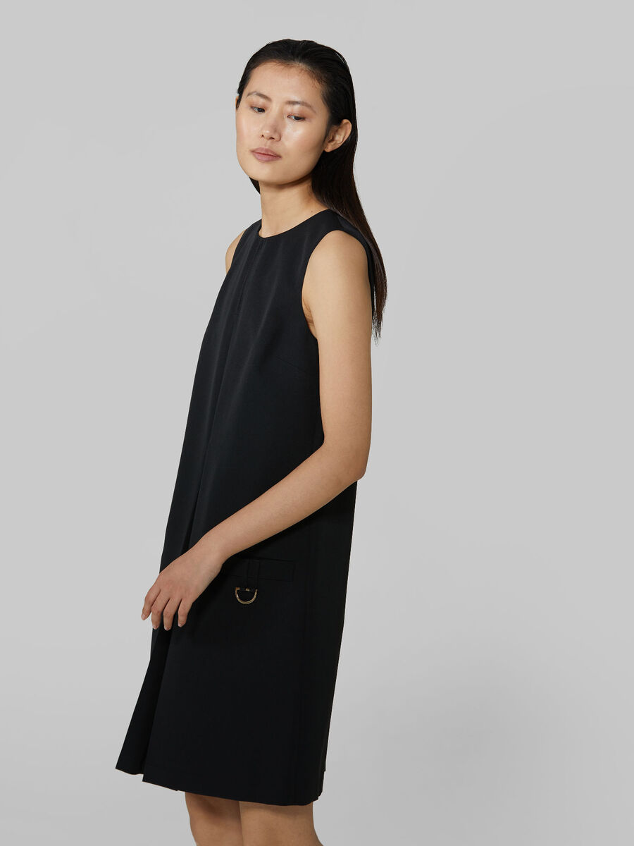 Sleeveless technical cady dress