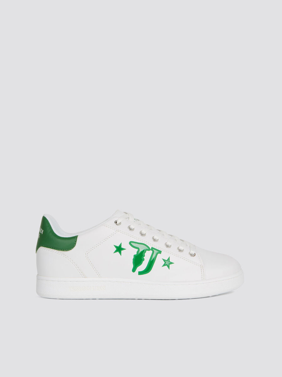 Faux leather sneakers with logo maxi print and star