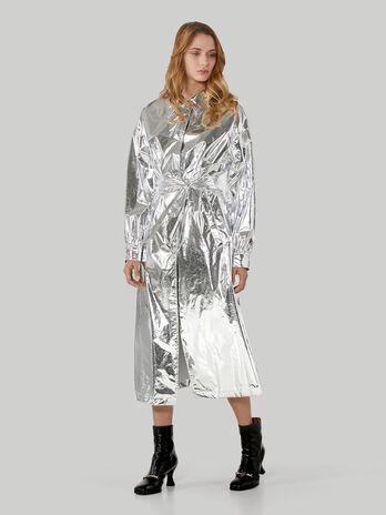 Trenchcoat aus silberfarbenem Nylon