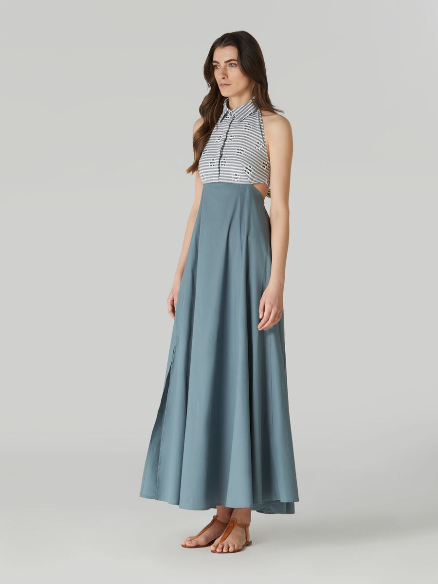 Poplin shirt dress with maxi-skirt
