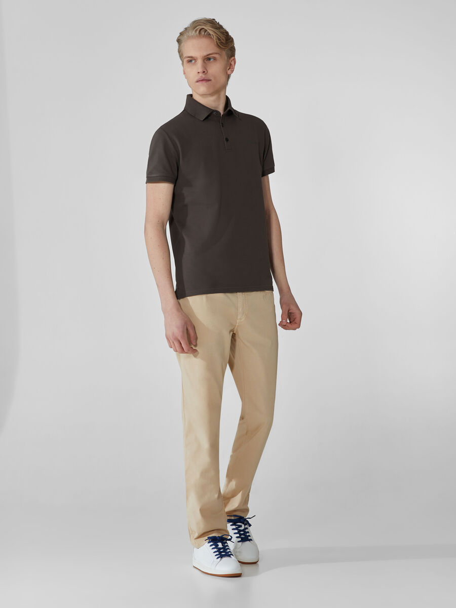 Regular-fit stretch pique polo-shirt