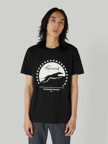 T-shirt coupe classique en coton a imprime