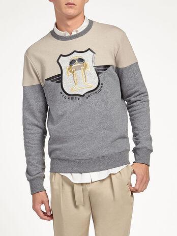 Cotton sweatshirt with aviator embroidery