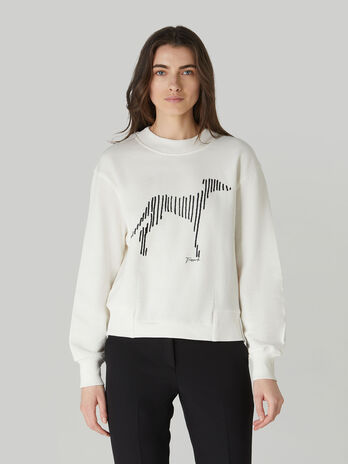 Boxy cotton sweatshirt with Levriero print