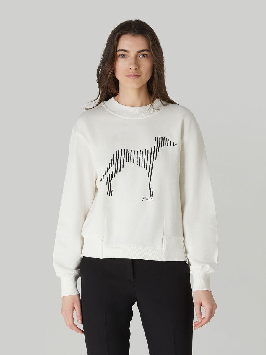 Sweatshirt im Boxy-Fit aus Baumwolle mit Levriero-Print