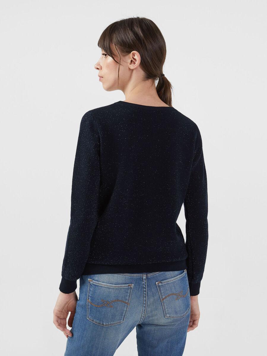 Stretch lurex viscose pullover with logo