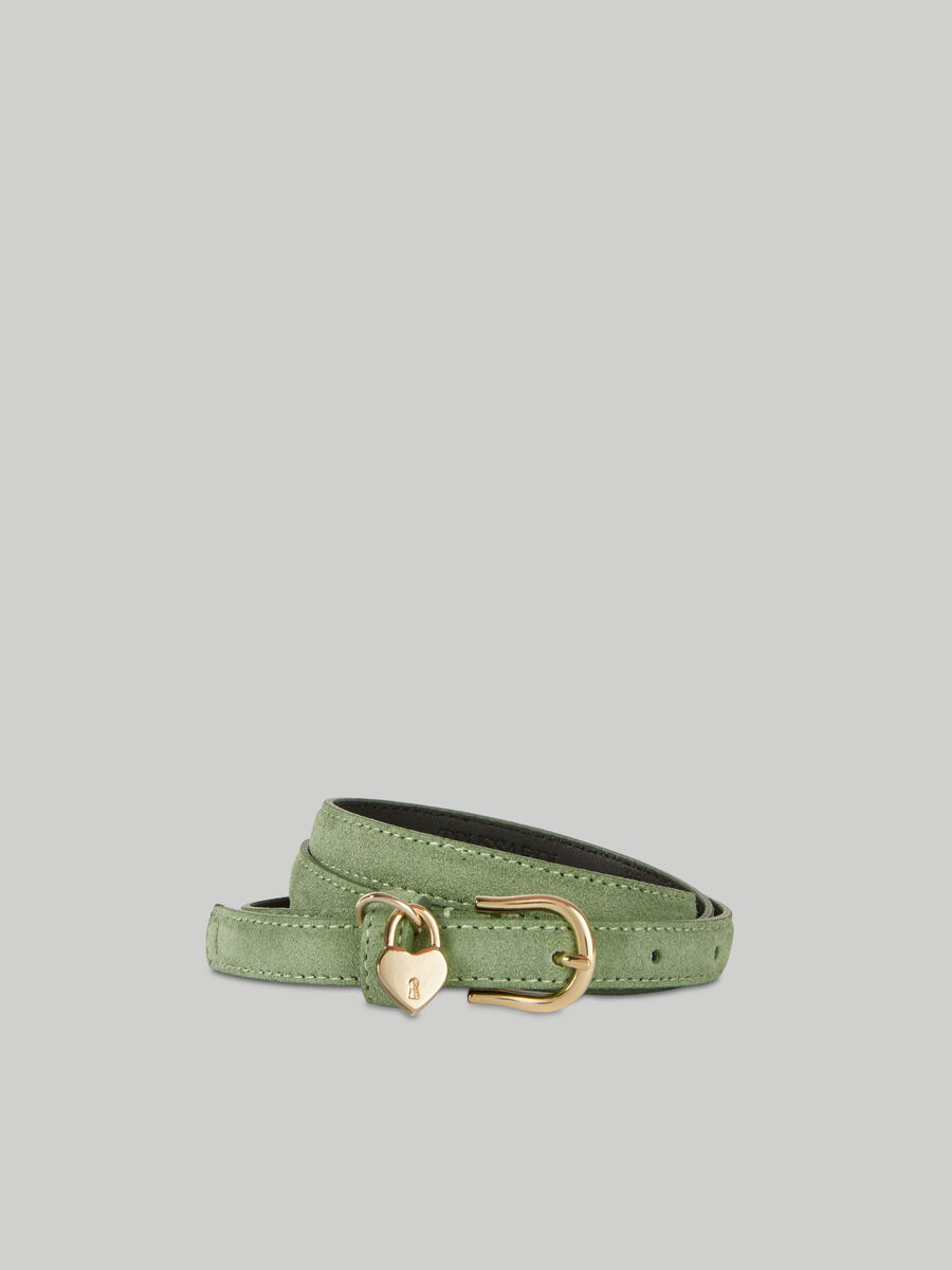 Suede belt with heart charm