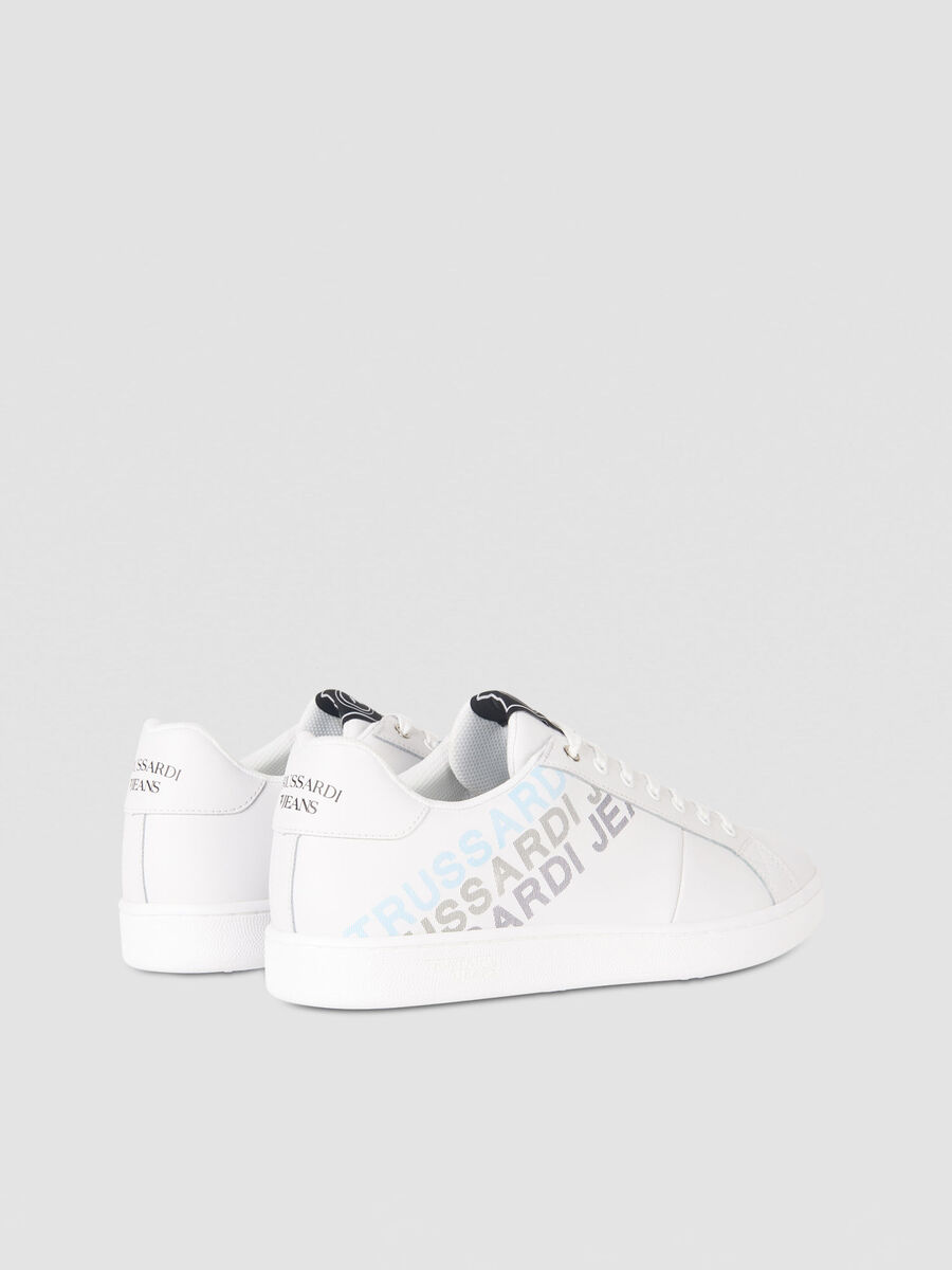 Faux leather sneakers with graduated logo