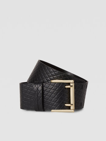 Quilted leather T-Cube belt