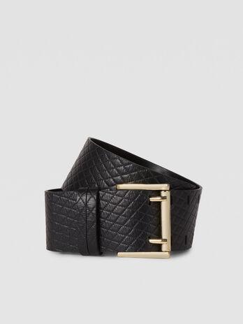 Cinturon T-Cube de piel pespunteada