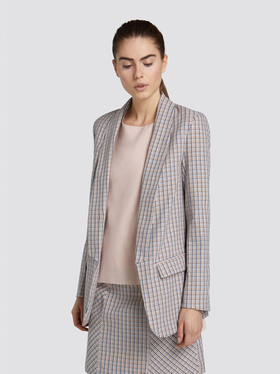 Regular fit chequered boyish blazer