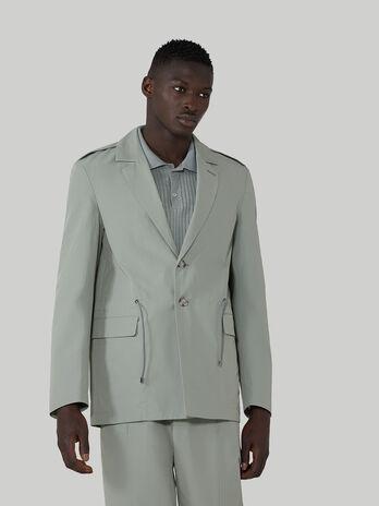 Regular-fit technical cotton blazer with drawstring
