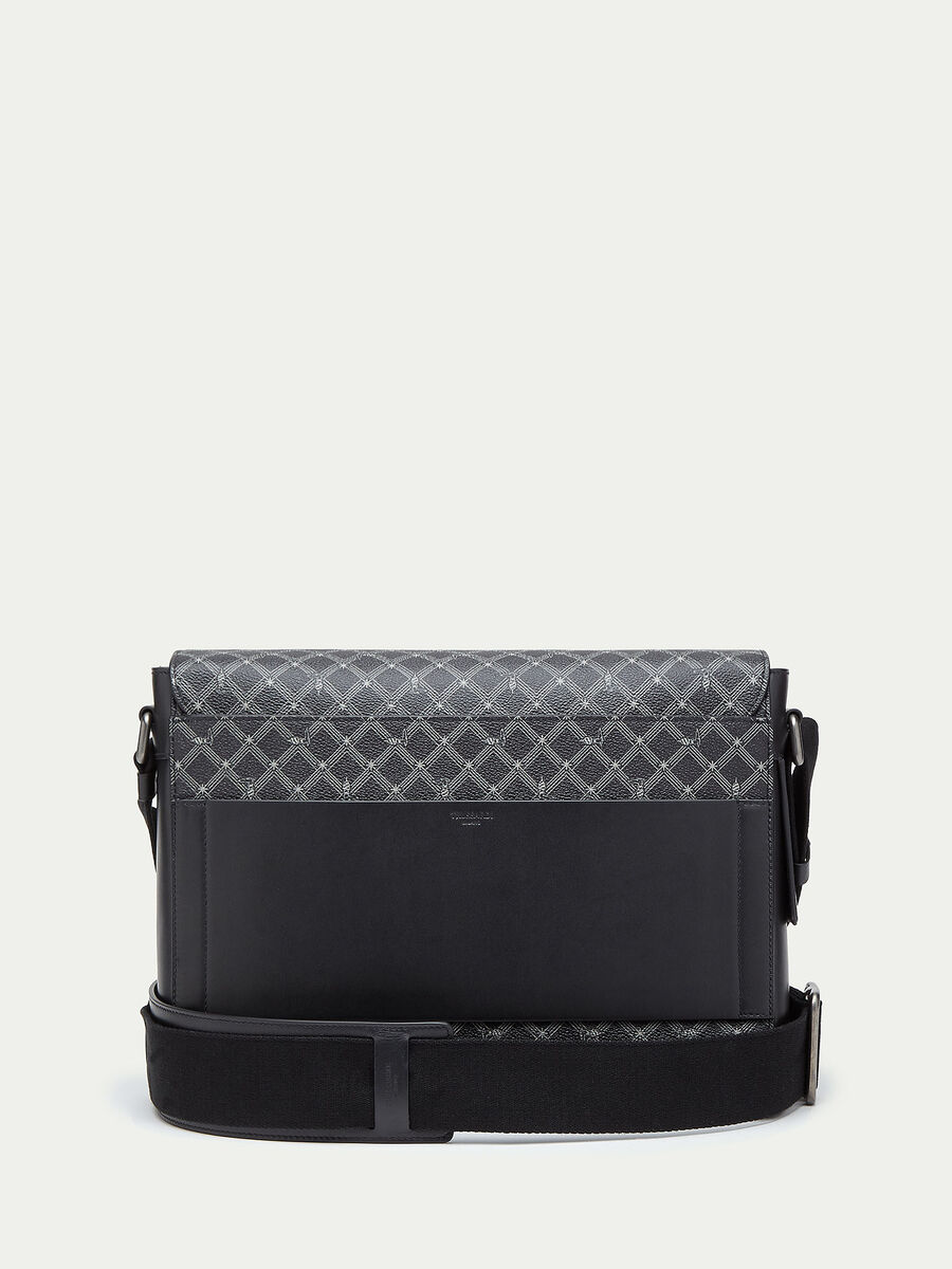 Borsa Messenger Monogram in crespo pelle