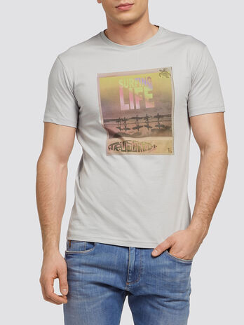 Jersey T shirt with surfer print