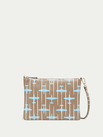 Airplane detailed Crespo leather clutch with shoulder strap